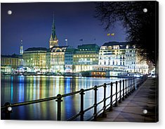 Acrylic Print featuring the photograph Hamburg At Night by Marc Huebner