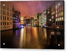 Acrylic Print featuring the photograph Hamburg By Night  by Carol Japp