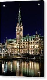Hamburg Town Hall At Night Acrylic Print by Marc Huebner