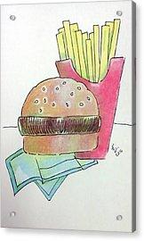 Hamburger With Fries Acrylic Print by Loretta Nash