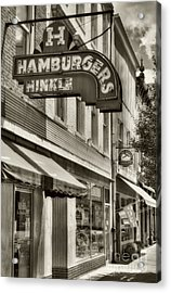 Hamburgers In Indiana Sepia Tone Acrylic Print by Mel Steinhauer