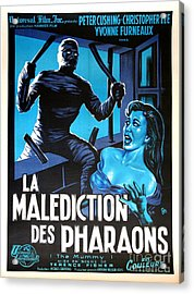 Hammer Movie Poster The Mummy La Malediction Des Pharaons Acrylic Print by R Muirhead Art