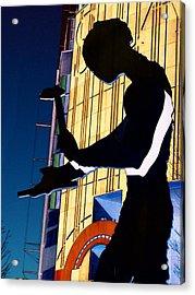 Acrylic Print featuring the digital art Hammering Man by Tim Allen