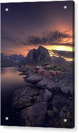Hamnoey Sunset Acrylic Print by Tor-Ivar Naess