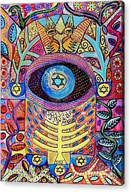 -hamsa Menorah Tree Of Life - Bright Lights  Acrylic Print