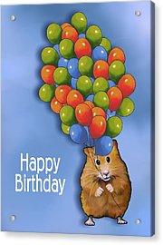 Hamster With Balloons Happy Birthday Acrylic Print