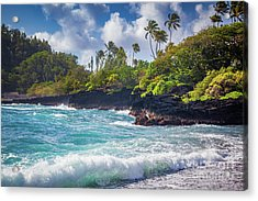 Hana Bay Waves Acrylic Print by Inge Johnsson