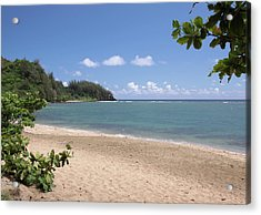 Acrylic Print featuring the photograph Hanalei Bay Beach by Rau Imaging