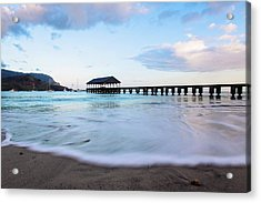 Acrylic Print featuring the photograph Hanalei Bay Pier At Sunrise by Melanie Alexandra Price