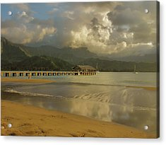 Hanalei Bay Reflections Acrylic Print by Stephen  Vecchiotti