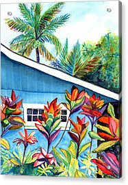 Hanalei Cottage Acrylic Print by Marionette Taboniar