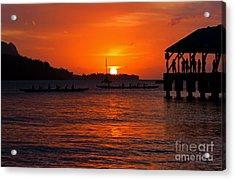 Hanalei Sunset Acrylic Print by Mike  Dawson