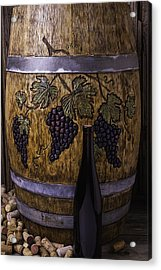 Hand Carved Wine Barrel Acrylic Print by Garry Gay