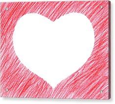 Hand-drawn Red Heart Shape Acrylic Print