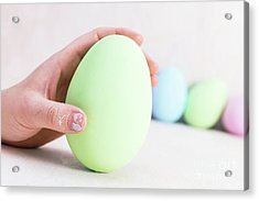 Hand Holding One Easter Egg. Acrylic Print
