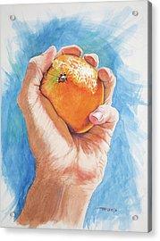 Hand Holding Orange Acrylic Print