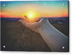 Acrylic Print featuring the photograph Hand Holding Sun - Sunset At Lapham Peak - Wisconsin by Jennifer Rondinelli Reilly - Fine Art Photography