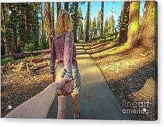 Hand In Hand Sequoia Hiking Acrylic Print