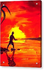 Hand Line Fisherman Acrylic Print by Buster Dight