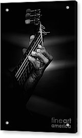 Hand Of A Guitarist In Monochrome Acrylic Print