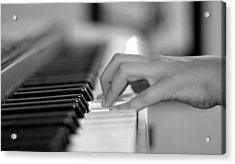 Hand On Piano Keyboard Acrylic Print
