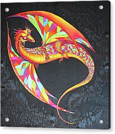Hand Painted Silk Scarf Dragon On Black Acrylic Print
