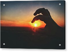 Acrylic Print featuring the photograph Hand Silhouette Around Sun - Sunset At Lapham Peak - Wisconsin by Jennifer Rondinelli Reilly - Fine Art Photography