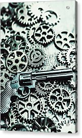 Handguns And Gears Acrylic Print by Jorgo Photography - Wall Art Gallery