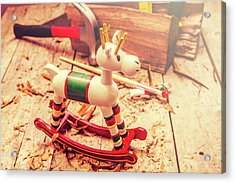 Handmade Xmas Rocking Toy Acrylic Print by Jorgo Photography - Wall Art Gallery