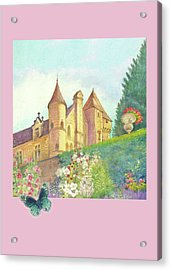 Handpainted Romantic Chateau Summer Garden Acrylic Print