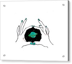 Hands Around Saturn Acrylic Print by Lucy Frost