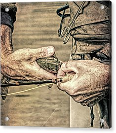 Hands Of A Fly Fisherman Grunge Acrylic Print