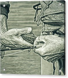 Hands Of A Fly Fisherman Monochrome Green Acrylic Print by Jennie Marie Schell