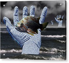Hands Of The Lost Fishermen Acrylic Print by Keith Dillon