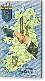 Hands Shaking Across Ireland Acrylic Print by Irish School