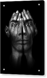 Hands Trying To Cover Eyes Acrylic Print by Evan Sharboneau
