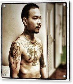 Acrylic Print featuring the photograph Handsome Man With Tattoos. #thailife by Mr Photojimsf