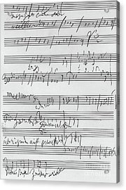 Handwritten Musical Score Acrylic Print by Beethoven