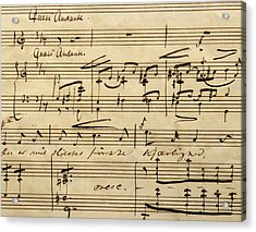 Handwritten Score For Hjertets Melodier, Opus 5 Acrylic Print by Edvard Grieg