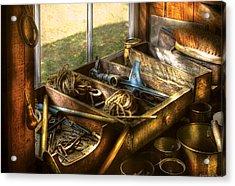 Handyman - Junk On A Bench Acrylic Print by Mike Savad