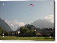 Hang Gliding In Interlaken Switzerland  Acrylic Print