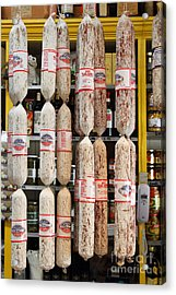 Hanging Salami Acrylic Print by Wingsdomain Art and Photography