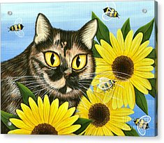 Acrylic Print featuring the painting Hannah Tortoiseshell Cat Sunflowers by Carrie Hawks