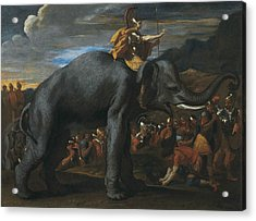 Hannibal Crossing The Alps On Elephants Acrylic Print by Nicolas Poussin