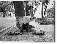 Acrylic Print featuring the photograph Hanoi Street Vendor by Dean Harte