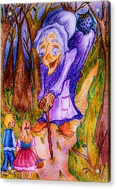 Acrylic Print featuring the drawing Hansel And Gretel by Rae Chichilnitsky