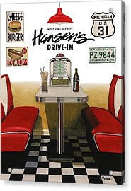 Acrylic Print featuring the painting Hansen's Drive-in by Ferrel Cordle