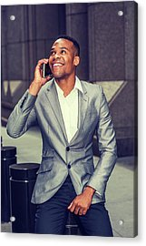 Happy African American Businessman Working In New York 15082323 Acrylic Print