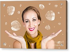 Happy Autumn Woman With Spread Hands Acrylic Print