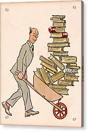 Acrylic Print featuring the drawing Happy Bibliophile 1930 by Padre Art